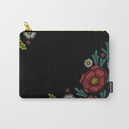 Embroidered Flowers on Black Corner 04 Carry-All Pouch