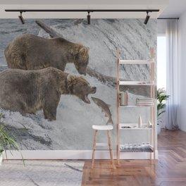 The Catch - Brown Bear vs. Salmon Wall Mural