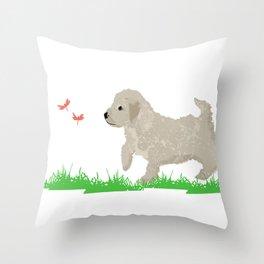 Cockapoo dog art cream Throw Pillow