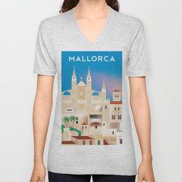 Mallorca, Spain - Skyline Illustration by Loose Petals Unisex V-Neck