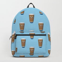 Happy coffee cup pattern on blue Backpack