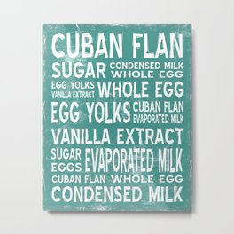 Cuban Flan Word Food Art Poster (Teal) Metal Print