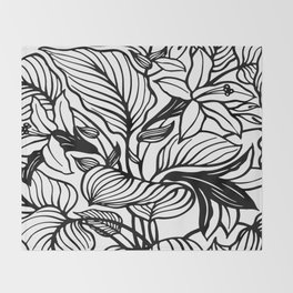 White And Black Floral Minimalist Throw Blanket