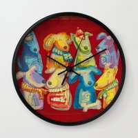 dogs Wall Clocks featuring Dogs by Catru