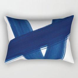 Indigo Abstract Brush Strokes | No. 4 Rectangular Pillow