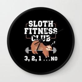 Sloth Fitness Club Sports Muffle Lazy Wall Clock