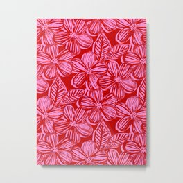 Bold Textured Cherry Red and Pink Linework Floral Metal Print