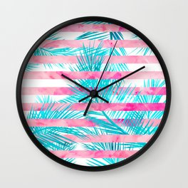 Modern pink turquoise tropical palm tree watercolor stripes pattern Wall Clock