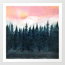 Forest Under the Sunset Art Print