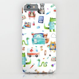 Cute Animal Hospital Watercolor Doctor Pattern iPhone Case