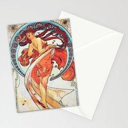 Alphonse Mucha Dance Art Nouveau Watercolor Painting Stationery Cards