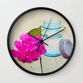 Pink Hydrangea in Blue Mason Jar Wall Clock