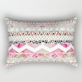 Aztec Spring Time! | Girly Pink White Floral Abstract Aztec Pattern Rectangular Pillow