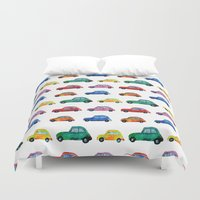 cars Duvet Covers featuring Italian cars  by Katerina Izotova