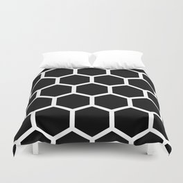 Honeycomb pattern - Black and White Duvet Cover
