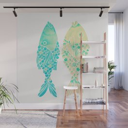 Indonesian Fish Duo – Turquoise & Cream Palette Wall Mural