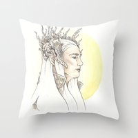 thranduil Throw Pillows featuring Thranduil by Mary Ledford