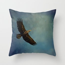 Young Bald Eagle Soaring in the Sky Throw Pillow