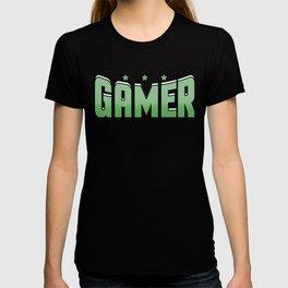 Video Game Gamer cool font green saying star gift online T-shirt