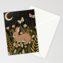 midnight rabbit Stationery Cards