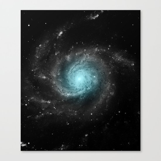 Aqua Blue Gray Pinwheel Galaxy Canvas Print