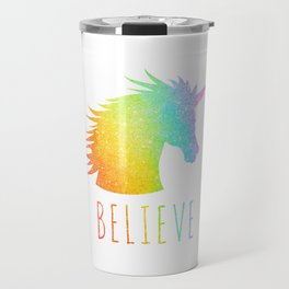 Believe     Rainbow Glitter Unicorn Travel Mug