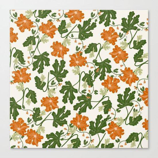 Orange Vintage Flower Pattern Canvas Print