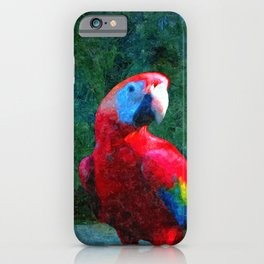 Red Parrot Tropical Bird Painting iPhone Case