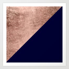Minimalist rose gold navy blue color block geometric Art Print