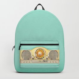 Retro old classic vintage blue teal Majestic radio iphone case Backpack