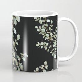 Baby Blue Eucalyptus Watercolor Painting on Charcoal Coffee Mug