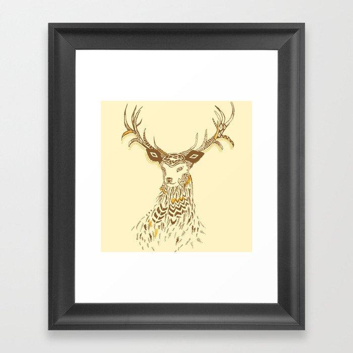 Tribal Deer Framed Art Print