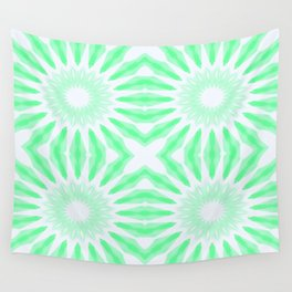 Seafoam Watercolor Pinwheel Flowers Wall Tapestry