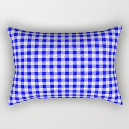 Gingham Blue and White Pattern Rectangular Pillow