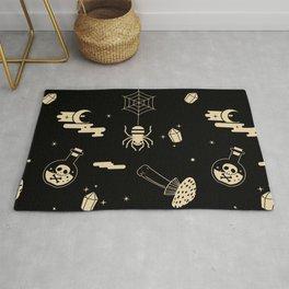 Halloween pattern in black bg Rug