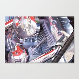 Chromed motorbike engine Canvas Print