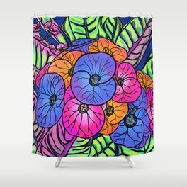 Colourful Flowers and Leaves Shower Curtain