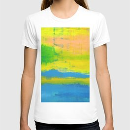 'A Sunny Day' Yellow Coral Blue Abstract Art T-shirt