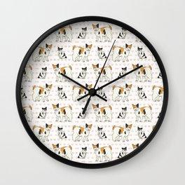 Cute cartoon Japanese bobtail cat and kitten.  Wall Clock