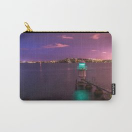 Gorgeous Seashore View Of City By Night At Lovely Dusk Lilac Saturation Ultra High Definition Carry-All Pouch