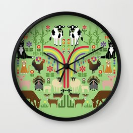Noah's Farm Animals Wall Clock