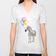 Zebra with Balloons Watercolor Baby Animals Unisex V-Neck