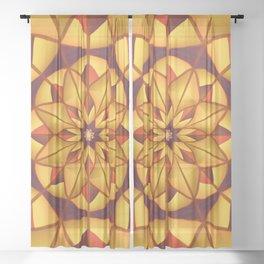 Golden geometric flourish Sheer Curtain
