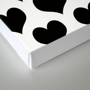 White Black Heart Minimalist Canvas Print