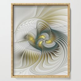 Noble And Golden, Abstract Modern Fractal Art Serving Tray