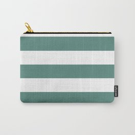 Wintergreen Dream - solid color - white stripes pattern Carry-All Pouch