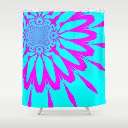 The Modern Flower Turquoise & Fushia Shower Curtain
