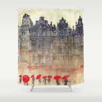 brussels Shower Curtains featuring Brussels by takmaj