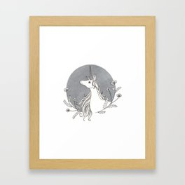 Unicorn & Nemophila Framed Art Print