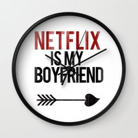 boyfriend Wall Clocks featuring Netflix is my Boyfriend by RexLambo